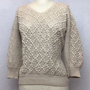 Vintage oatmeal knobby open weave sweater M